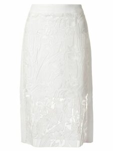 Goen.J lace embroidered pencil skirt - White