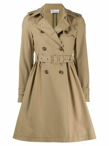 Red Valentino storm flap midi trench coat - NEUTRALS