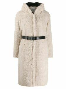 Ba & Sh Filip belted fleece coat - NEUTRALS