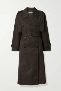 Co - Belted Gabardine Trench Coat - Dark brown