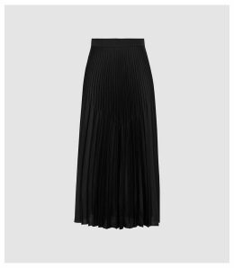 Reiss Dora - Pleated Midi Skirt in Black, Womens, Size 16