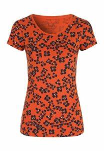 Womens Orange Floral T-Shirt