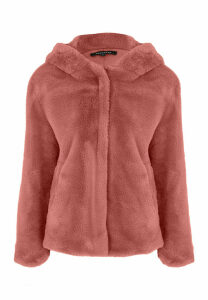 Womens Pale Pink Faux Fur Hooded Coat