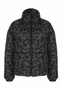 Womens Grey Camouflage Padded Coat