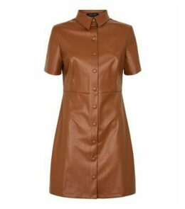 Tan Coated Leather-Look Shirt Dress New Look