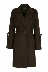 Womens D-Ring Detail Tailored Wool Look Coat - brown - 14, Brown