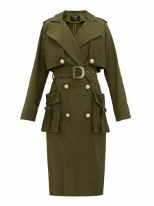 Balmain - Quilted-panel Cotton-twill Trench Coat - Womens - Khaki