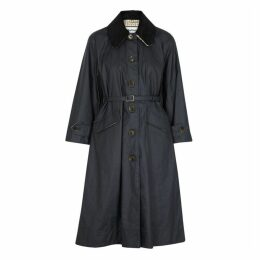 Barbour X Alexa Chung Mildred Navy Waxed Linen And Cotton-blend Coat