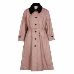 Barbour X Alexa Chung Mildred Pink Waxed Linen And Cotton-blend Coat