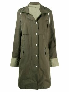 Yves Salomon Army high drawstring neck panelled coat - Green