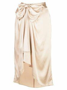 Cinq A Sept Emma draped satin skirt - NEUTRALS