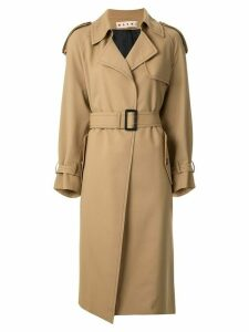 Marni contrast stitch detail trench coat - Brown