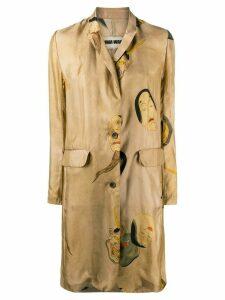 Uma Wang embroidered single-breasted coat - NEUTRALS