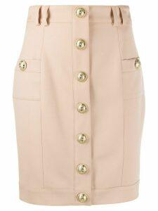 Balmain embossed buttons fitted skirt - NEUTRALS