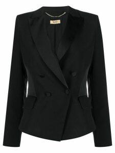 LIU JO double-breasted satin insert blazer - Black