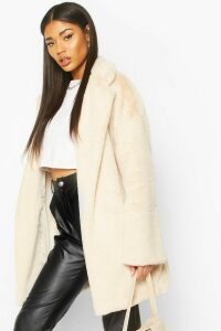 Womens Faux Fur Belted dressing gown Coat - white - 14, White
