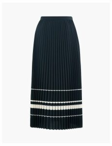 M&S Collection Striped Pleated Midi Skirt