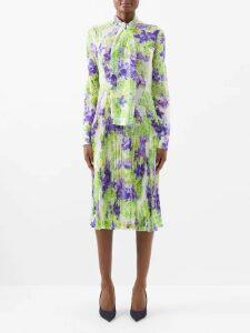 Beulah - Bipasha One Shoulder Floral Print Silk Dress - Womens - Green Multi